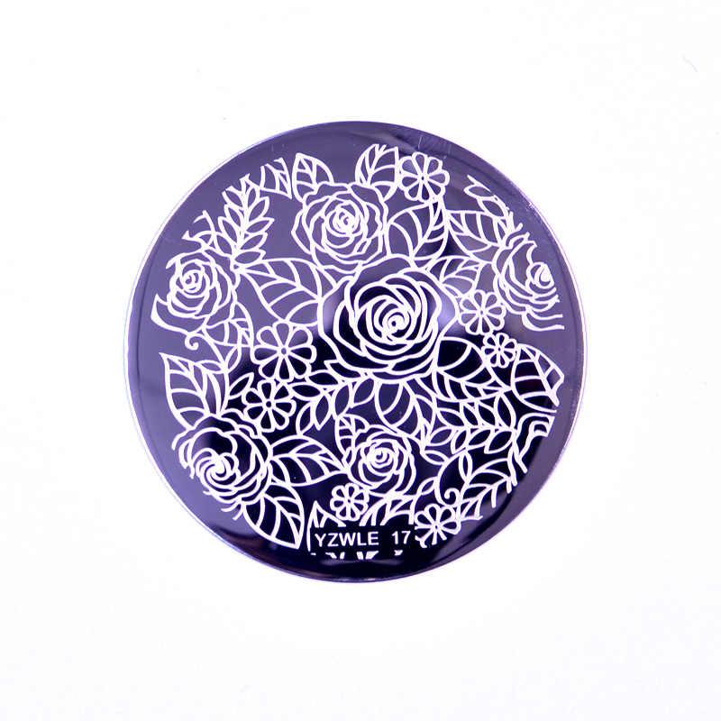 1pcs 5.6 ซม.Nail Artแสตมป์เล็บแม่แบบดอกไม้เรขาคณิตสัตว์DIYเล็บเล็บภาพstencil