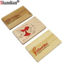 Cartão de madeira livre de shandian usb 2.0 pen drive 4gb 8gb 16gb 32gb 64gb pen drives fotografia memória vara presentes de casamento