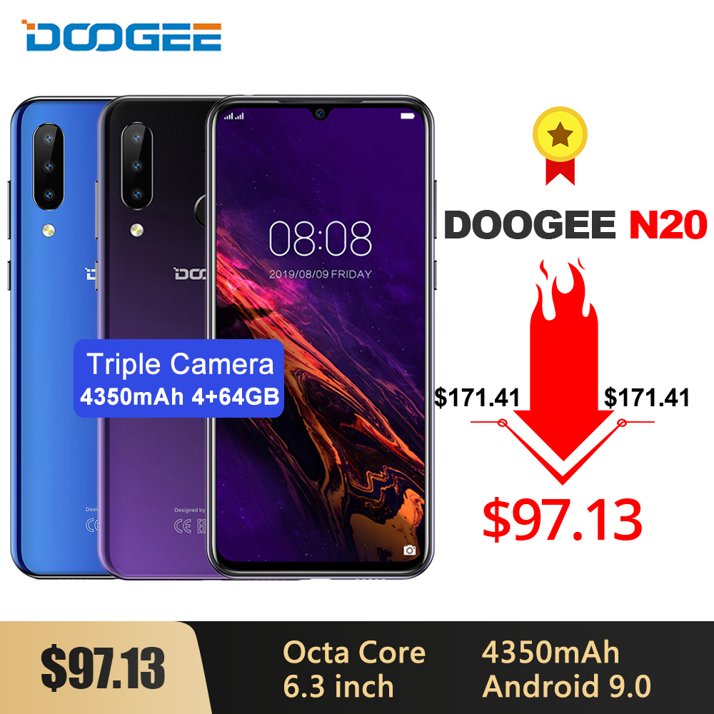 DOOGEE N20 Mobilephone Fingerprint 6.3 inch FHD+ Display 16MP Triple Back Camera 64GB 4GB MT6763 Octa Core 4350mAh LTE Cellphone