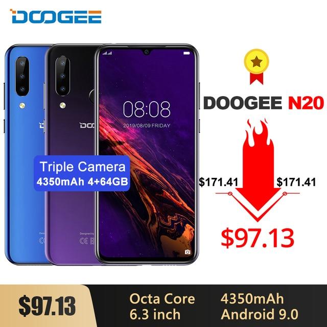 Doogee teléfono inteligente N20, teléfono móvil con reconocimiento de huella dactilar, pantalla FHD de 6,3 pulgadas, 16.0mp Triple de cámara trasera, 64GB RAM, 4GB rom, procesador MT6763, Octa Core, batería de 4350mAh, soporta LTE