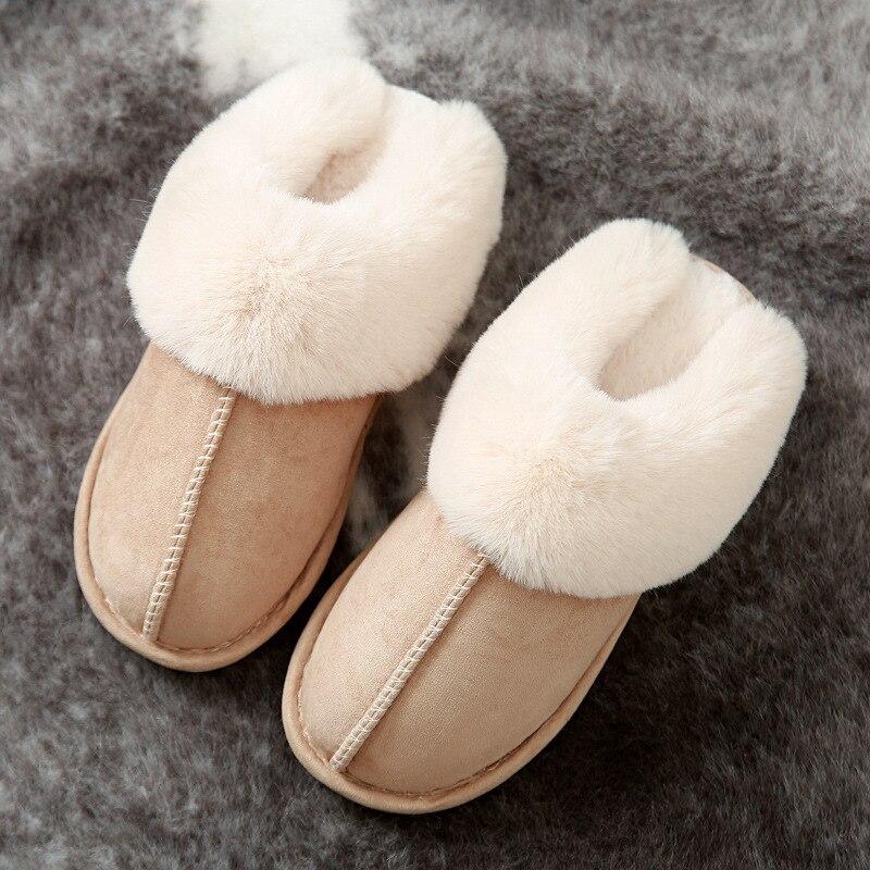 Pantofole di pelliccia piena di lusso in pelle scamosciata sintetica da donna pantofole di pelliccia da donna antiscivolo calde da camera da letto in peluche calde invernali 2