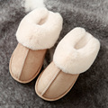 Luxury Faux Suede Home Women Full Fur Slippers Winter Warm Plush Bedroom Non-Slip Couples Shoes Indoor Ladies Furry Slippers