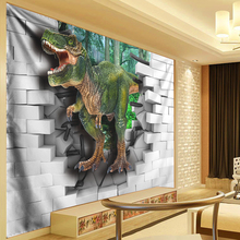 Dinosaur Tapestry Wall Hanging Anime Tapestries Animal Decoration 3D Brick Forest Art Living Room Bedroom