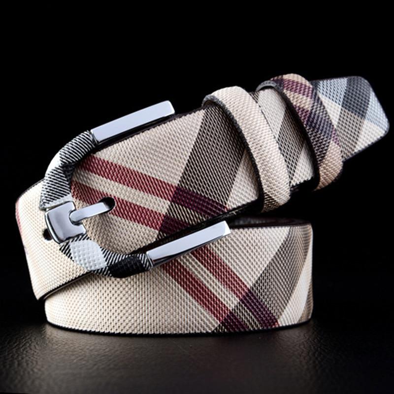 Leather Belt Men's Fashion Pin Buckle Belt Men's Plaid Belt Men's Casual Business Pants Jeans Men's Sling