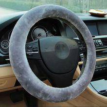 Miękki pluszowy wiosenny pokrowiec na kierownicę wełniany pokrowiec zimowy ciepły Auto dekoracja do wnętrza samochodu ochrona tanie tanio KOU JIANG CN (pochodzenie) Kierownice i piasty kierownicy