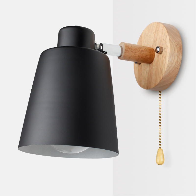 Wooden Wall Lamps Nordic Bedside Wall Light Switch Wall Sconce Modern For Bedroom Macaroon 6 Color Steering Head E27 85-285V