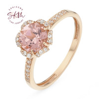 SKM flower rings Morganite rings for women 14k rose gold Engagement rings designer gift for wife Promise Luxury Fine Jewelry