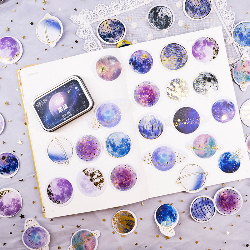 60Pcs Romantic Starry Sky Stationery Sticker Cute Decorative Stickers Paper Adhesive Sticker For Kids DIY Scrapbooking Supplies