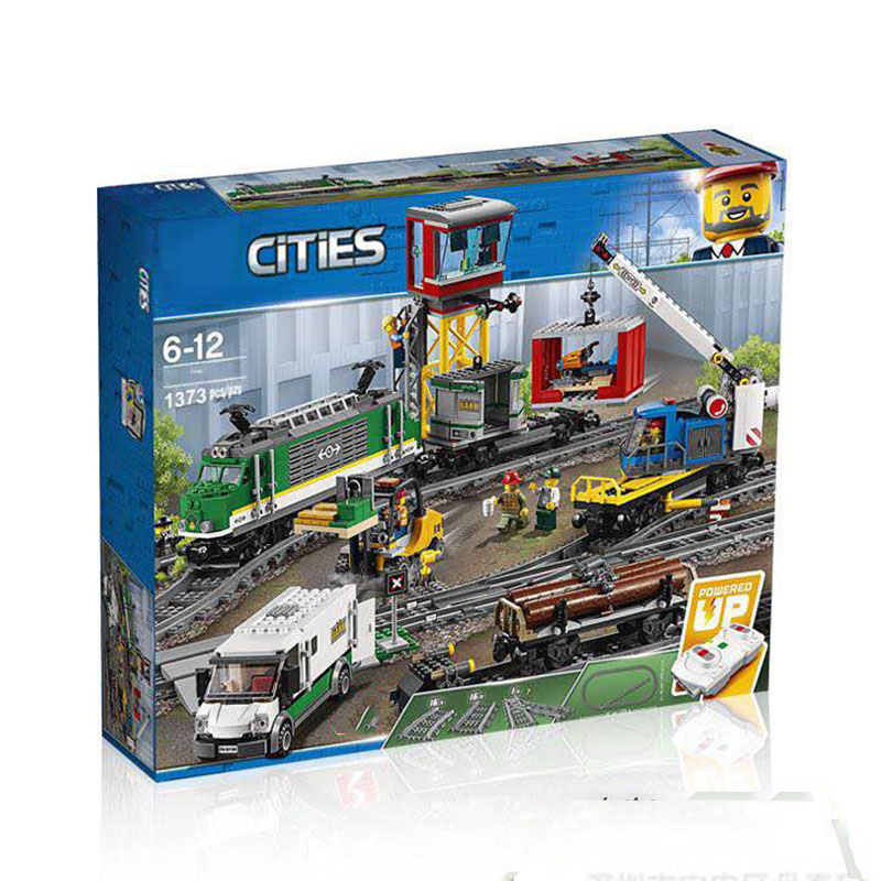 Lepining Remote Control Passenger Train 02118 Building Blocks Brick Toy 60198 City Series The Cargo Train For Children Gifts
