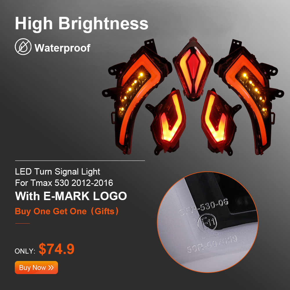 For TMAX 530 Signal Light For TMAX530 LED Turn Rear Tail Brake Light With E-mark For Yamaha T-MAX530 2012 -2014 2015 2016 Lamps