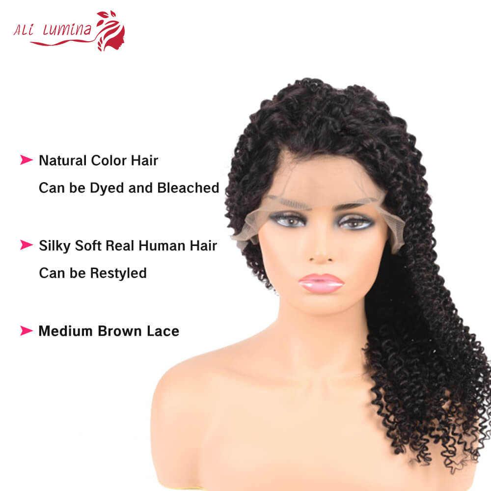 Transparante Lace Front Lang Krullend Pruik Menselijk Haar Pruiken Voor Zwarte Vrouwen Maleisische Krullend Pruik 180% Dichtheid Remy Pruiken Ali lumina