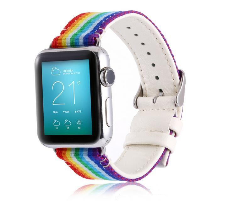 Suitable For Apple APPLE Watch Rainbow Casual Watch Strap NYLON + Leather Watch Strap 38/42 Size