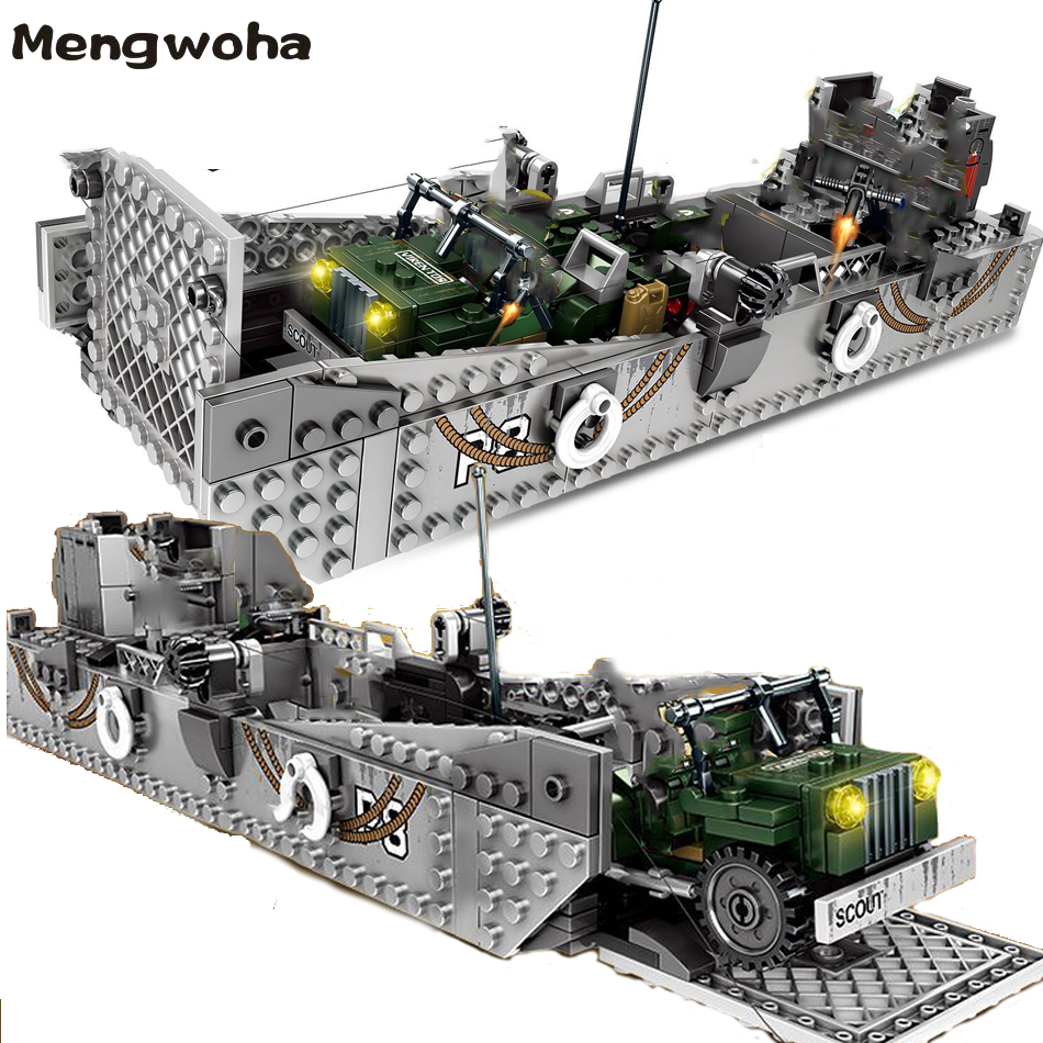 413pcs WW2 Army Building Blocks USA LCM3 Landing Ship Legoingly Military Bricks With 6 Soldier Figures Model Toys For Children