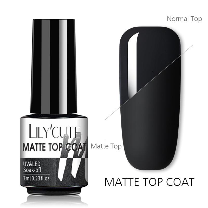 LILYCUTE 7 мл матовое верхнее покрытие лак для ногтевого дизайна матовый цветной гель матовое верхнее покрытие необходимо отмачивать УФ-лампа г...