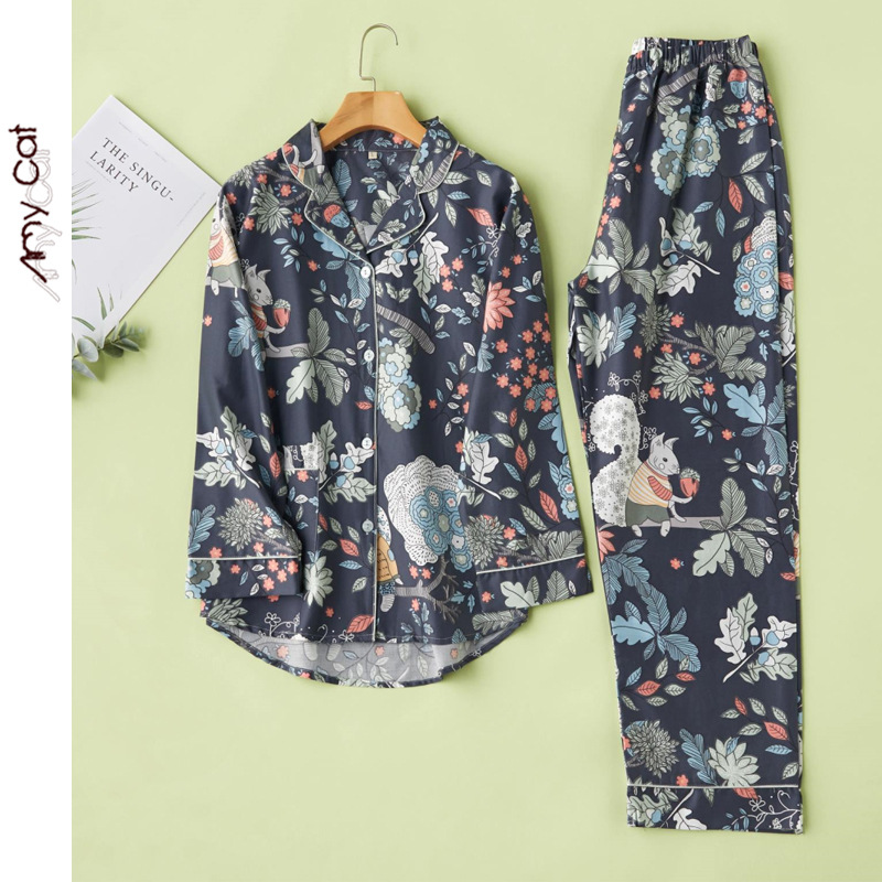 Spring Thin Fashion Retro Cotton Satin Squirrel Printing Pajamas Long Sleeve Cardigan Pajama Set 2 Piece Women Wear Home Clothes