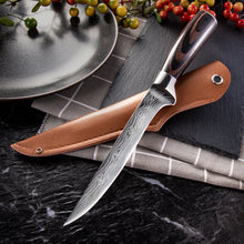 5CR15 Kitchen Knife Boning Knife Damascus Laser Pattern Butcher Knife Stainless Steel Bone Meat Fruit Vegetables Fish Chef Knife(China)