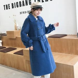 Image 3 - Женское пальто из овечьей шерсти [DEAT], черное пальто из овечьей шерсти с отложным воротником и поясом, с длинным рукавом, толстое, с поясом, AI773, зима 2020