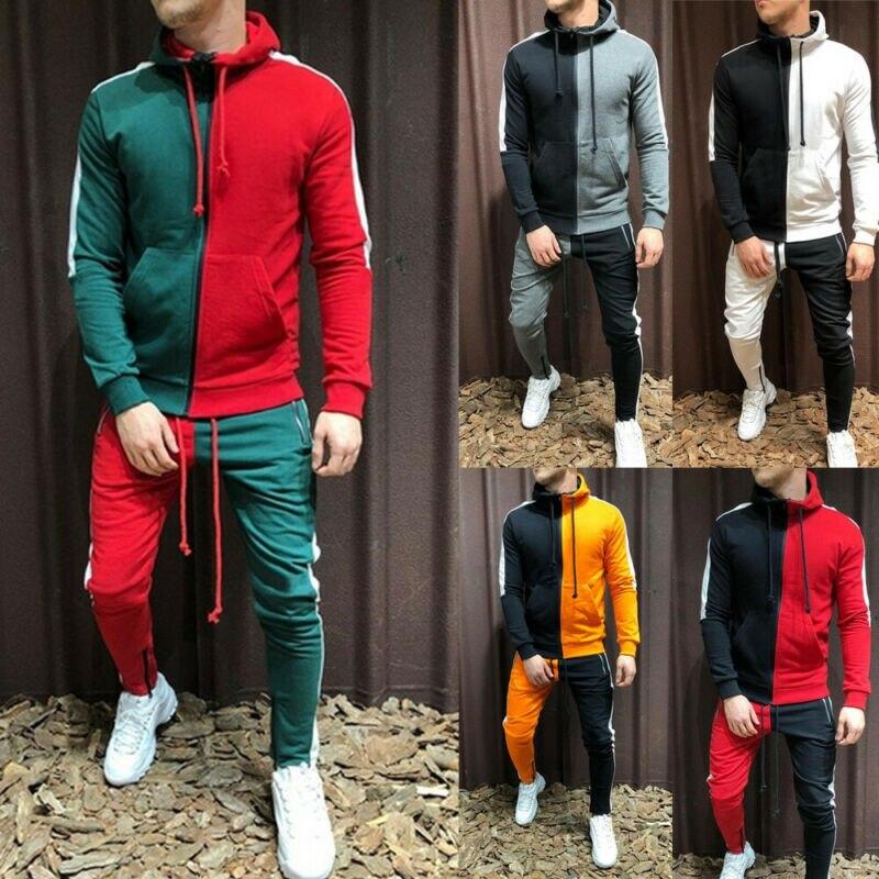 2020 Autumn Casual Men Tracksuit Sets Fashion 3D Gradient Sweatsuit Hoodies Sweatshirt Sweatpant Slim Joggers Gym Pants Suit Man
