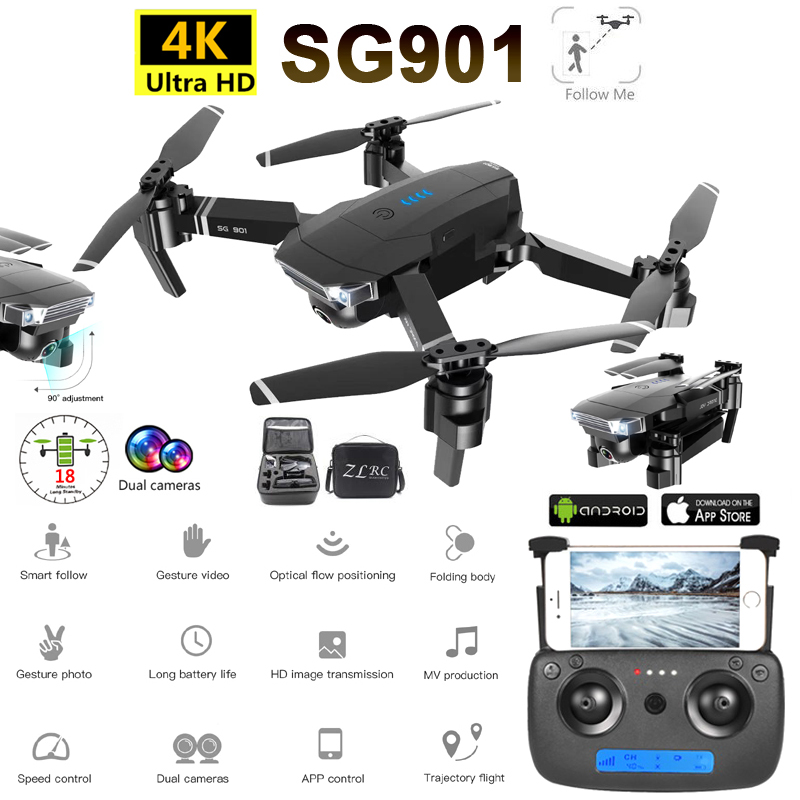 SG901 RC Drone 4K Camera HD 1080P WiFi FPV Optical Flow Camera Drone 18 minutes Professional RC Quadcopter VS Xs816 S17 SG106 image