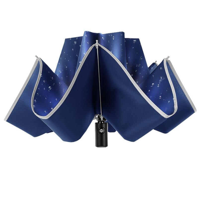 Parapluie inversé réfléchissant automatique de parapluie pour la pluie d'affaires de voiture