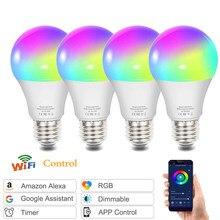 Diodo emissor de luz e27 lâmpada inteligente rgb cor tuya conectado alexa google casa b22 e14 edison base poderosa branco legal lâmpada regulável lâmpadas