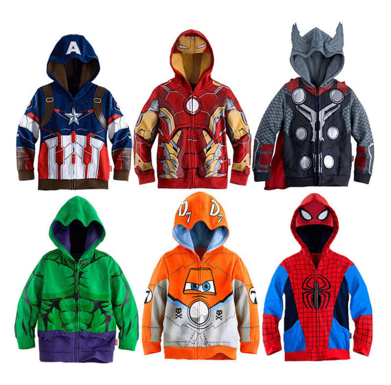 Jungen Mit Kapuze Sweatshirt Baby Jungen Avengers Superheld Iron Man Thor Hulk Captain America Spiderman Mantel Kinder Cartoon Jacke 2- 8 Y