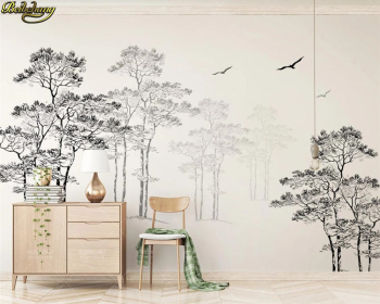 beibehang Custom 3d wallpaper mural black and white sketch abstract tree flying bird TV background wall papers home decor