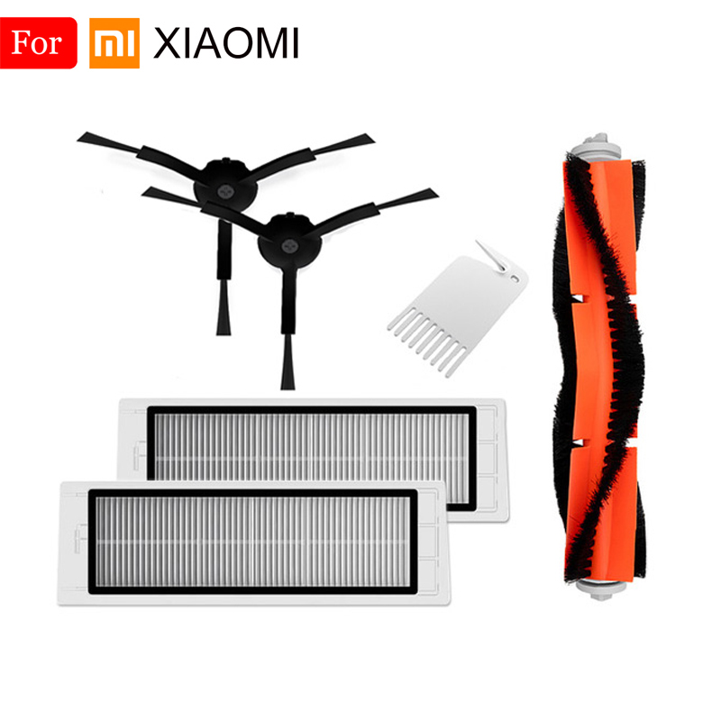 For XiaoMi Roborock S50 S51 S55 E35 Accessories Vacuum Cleaner Parts Washable HEPA Filter Main Brush Black Side Brush Tool Brush
