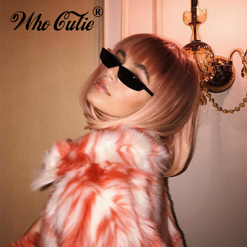 WHO CUTIE 90S Sunglasses Women Vintage Fashion Small Rectangular Frame Black Red Cat Eye Sun Glasses Retro Skinny Shades OM497B