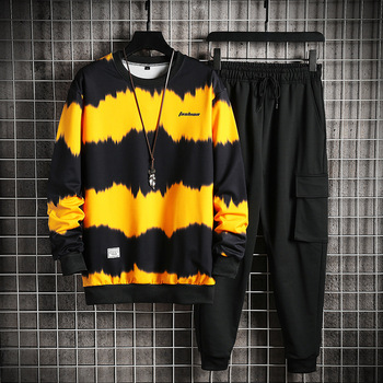 2021 Men's Sets Casual Sportswear Tracksuits Sets New Men Sporting Hoodies+Pants Sets Outwear Male Hooded Sports Suits Patchwork 1