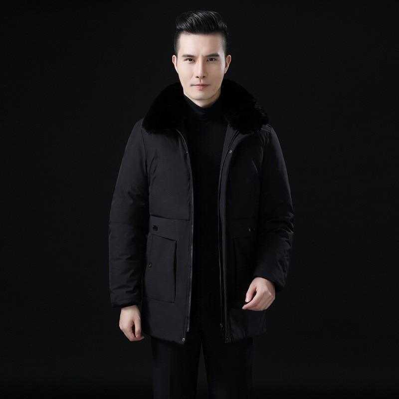 Color: Army Green Black 2019 Winter New Men's Cotton Jacket Men's Detachable Fur Collar Jacket Middle-aged Men's Padded Coat