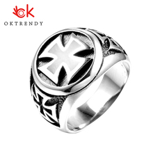 купить Oktrendy Stainless Steel High Quality Cool Fashion Punk Cross Ring Man Rock Biker Knight Templars Jewelry дешево