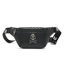 Rock Skull Mens Designer Rivet Belt Chest Bag Hip-Hop Crossbody Waist Pack Female Banana Punk Fanny 2019 Bum Bags