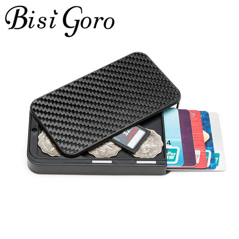 Bisi Goro 2020 Carbon Fiber Aluminium Kaarthouder Multi Rfid Blocking Geld Bag Security Smart Portemonnee Cartera Feminina Tarjetero