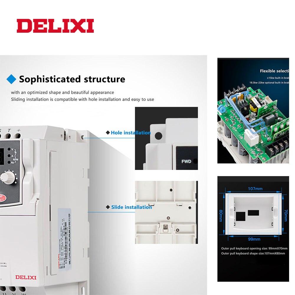 DELIXI E102 AC 380V 7.5KW drei phase ausgang VFD Frequenz Konverter für motor geschwindigkeit 50HZ 60HZ Einstellbar frequenz inverter