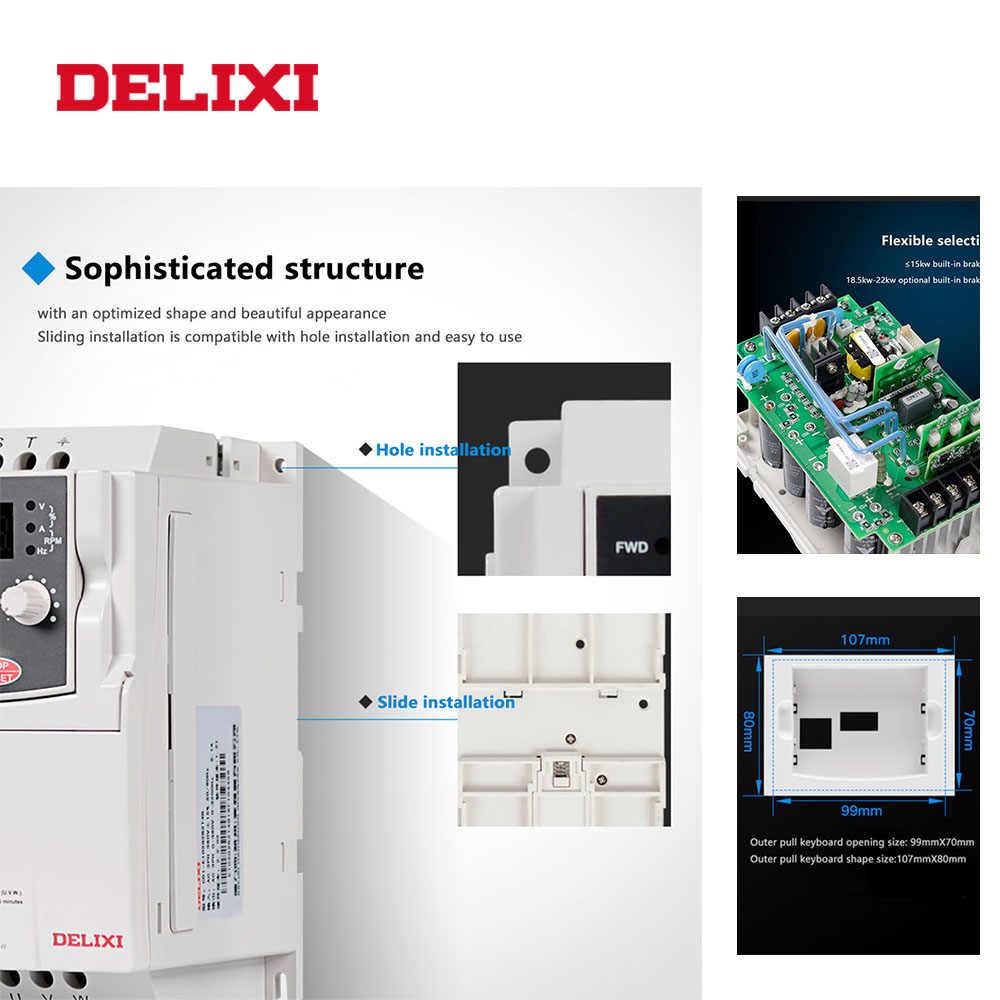 DELIXI inversor de frecuencia AC 380V 3.7KW controlador de velocidad de salida de 3 fases 50HZ 60HZ convertidor VFD para motor