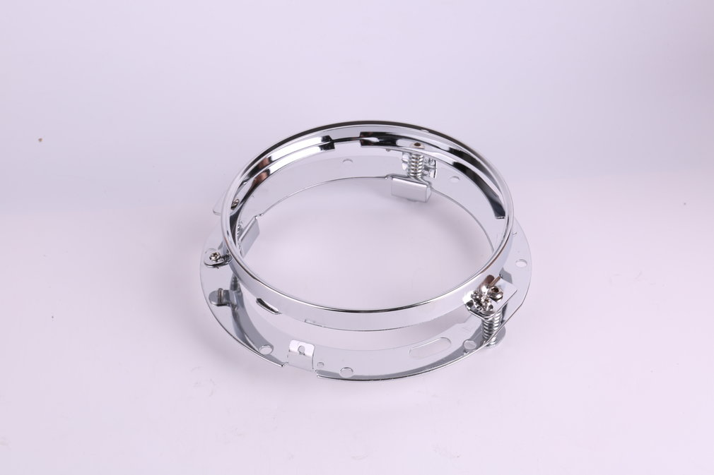 7 Inch Stainless Steel Round LED Headlight Mounting Bracket Ring Built-in Strong Springs Chrome Plated