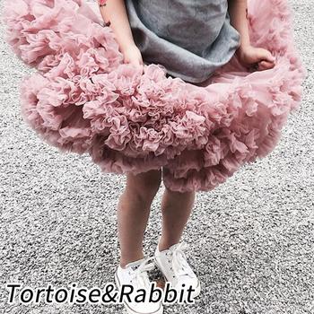 Nowe dziewczynek spódnica Tutu baleriny Pettiskirt puszyste dzieci spódnice baletowe na imprezę taniec księżniczka dziewczyna Tulle ubrania tanie i dobre opinie TORTOISERABBIT Na co dzień Pasuje prawda na wymiar weź swój normalny rozmiar NYLON Poliester Stałe Ruffles Girl Skirts
