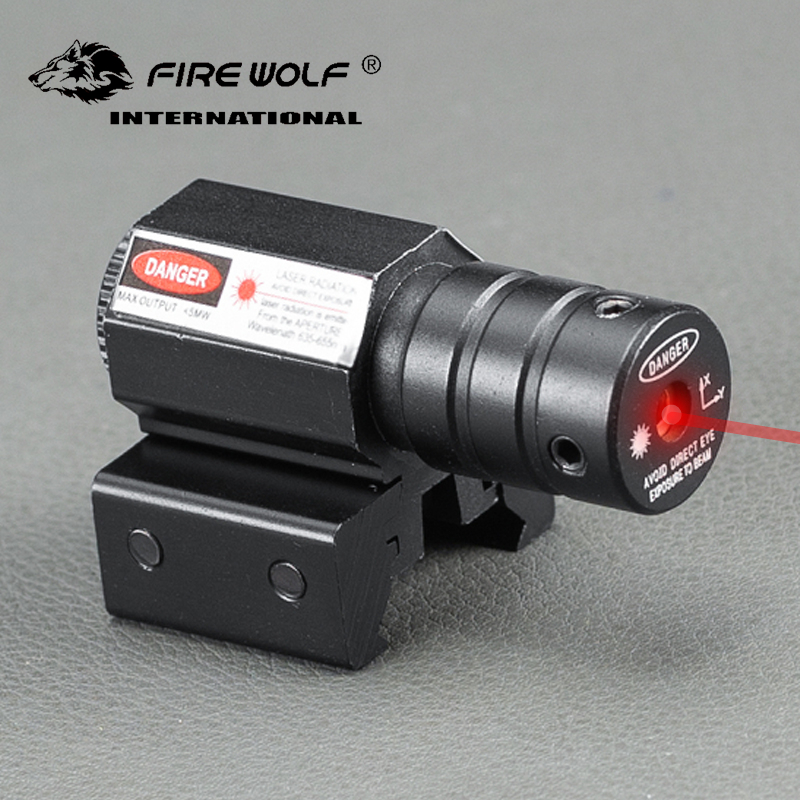 FIRE WOLF Mini tactics 635-655nm Red Dot Laser Sight rifle For Pistol Adjust 11mm&20mm Picatinny Rail Laser Pointer