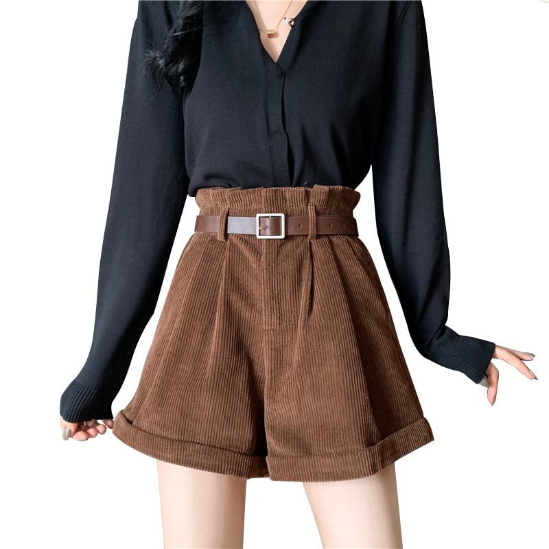 Ruffles Elastic Waist Shorts Women Autumn Winter High Waist Solid Fashion Coffee Shorts Belt Mini Shorts Female Plus Size 2019