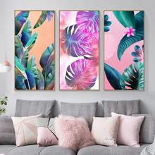 Large Painting Green Leaf Poster and Print Nordic Living Room Style Tropical Plantain Pink Flower Wall Art Picture Home Decor(China)