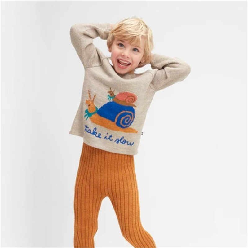 Oeuf/2019 г. Детский вязаный свитер и платье для маленьких мальчиков и девочек, леггинсы детские зимние модные брендовые топы, детский вязаный пуловер, топы