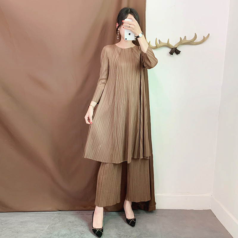 LANMREM 2020 New Autumn Pleated Vintage Women Clothes Round Neck Pullover Loose Dress And Wide Legs Pants Set Two Pieces WJ262