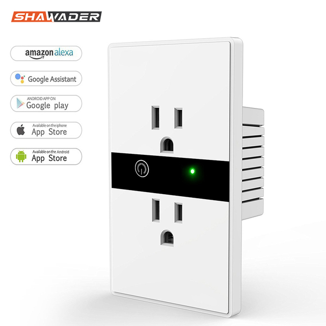 WiFi Smart Electric Wall Socket US Wireless Plug Outlets Touch Panel Control Lights Home Appliances Work with  Alexa Google