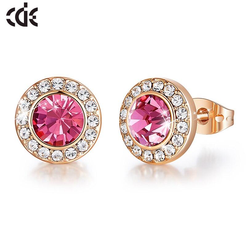 CDE Fashion Zircon Stone Pink Crystal from Swarovski Round Shape Stud Earrings Women Ear Beautiful Jewelry Gifts(China)