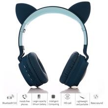 Cat Ears Cute Style Wireless Bluetooth Headband Game Headphone for Grils Gift Colorful BT 5.0 Headset Beauty Bluetooth Headphone