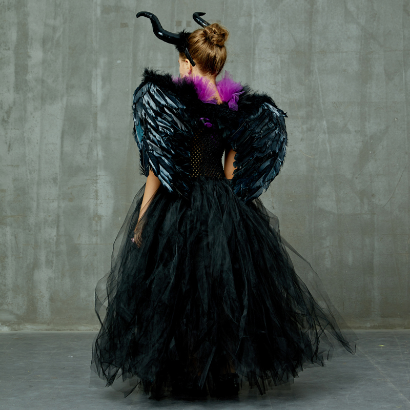 H5d424f66f6e74fddacb035eb8e6c6972T Maleficent Black Gown Tutu Dress with Deluxe Horns and Wings Girls Villain Fancy Dress Kids Halloween Cosplay Witch Costume