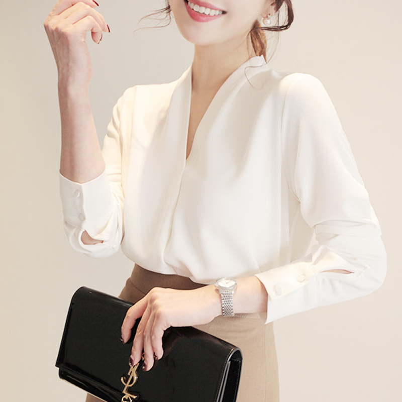 High Quality Spring Autumn Elegant White Women Tops Long Sleeve Chiffon Blouse Female Work Wear shirt