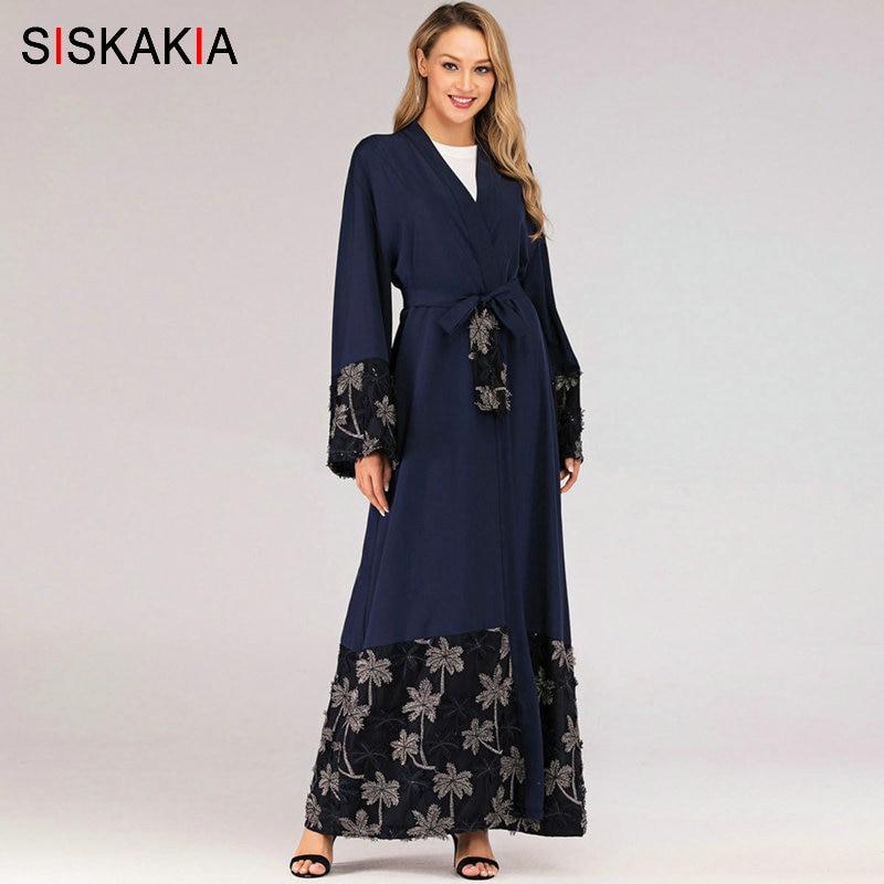 Siskakia musulman ouvert Abaya robe bleu Royal élégant musulman Jilbab mode maille Patchwork broderie arabe dubaï Robes 2019