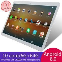 KIVBWY 10 дюймов планшетный ПК Восьмиядерный 4G Телефонный звонок Google market gps WiFi FM Bluetooth 10,1 планшеты 6G + 64G Android 8,0 tab